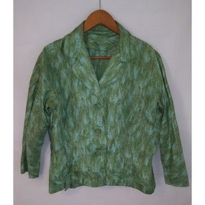 VINTAGE 50's Silk Green Blue Jacket XL